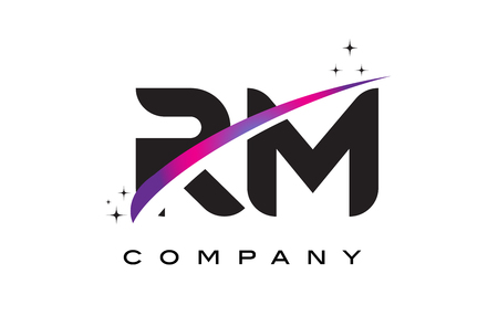 RM R M Black Letter Logo Design with Purple Magenta Swoosh and Stars. Illustration