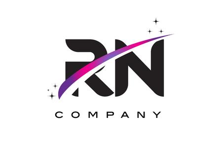 rn: RN R N Black Letter Logo Design with Purple Magenta Swoosh and Stars.
