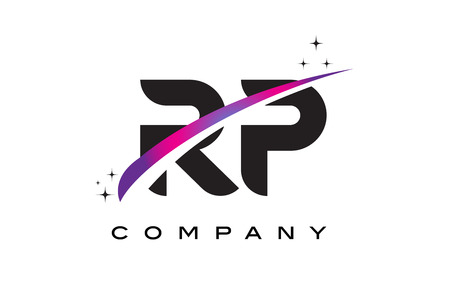RP R P Black Letter Logo Design with Purple Magenta Swoosh and Stars.