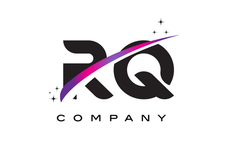 cutted: RQ R Q Black Letter Logo Design with Purple Magenta Swoosh and Stars. Illustration