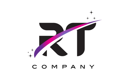 RT R T Black Letter Logo Design with Purple Magenta Swoosh and Stars.