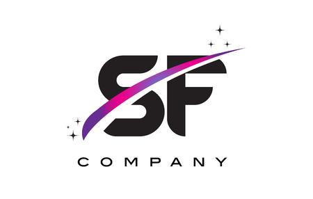 SF S F Black Letter Logo Design with Purple Magenta Swoosh and Stars.