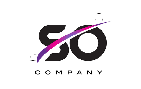 SO S O Black Letter Logo Design with Purple Magenta Swoosh and Stars.