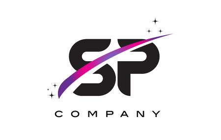 紫マゼンタと SP S P ブラック文字ロゴ デザインのスウッシュし、星します。