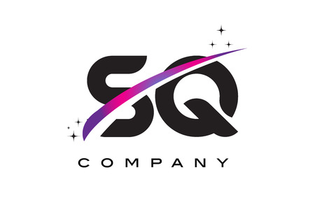 SQ S Q Black Letter Logo Design with Purple Magenta Swoosh and Stars.