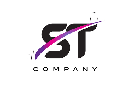 cutted: ST S T Black Letter Logo Design with Purple Magenta Swoosh and Stars.