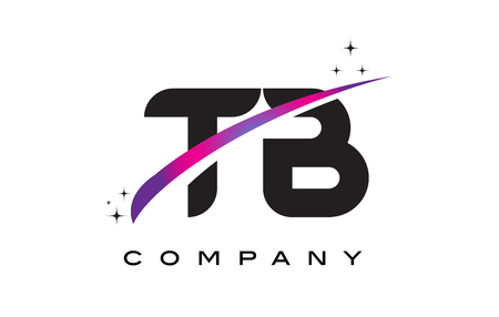 TB T B Black Letter Logo Design with Purple Magenta Swoosh and Stars.