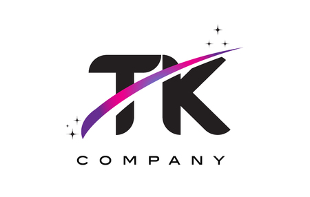 TK T K Black Letter Logo Design with Purple Magenta Swoosh and Stars.