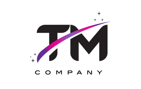 TM T M Black Letter Logo Design with Purple Magenta Swoosh and Stars. Illustration