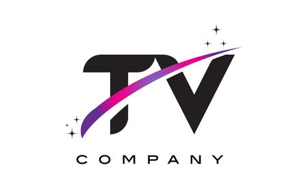 TV T V Black Letter Logo Design with Purple Magenta Swoosh and Stars. Ilustração