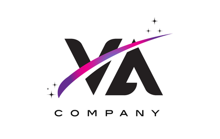 VA V A Black Letter Logo Design with Purple Magenta Swoosh and Stars.
