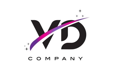 VD V D Black Letter Logo Design with Purple Magenta Swoosh and Stars.
