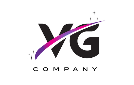 VG V G Black Letter Logo Design with Purple Magenta Swoosh and Stars.
