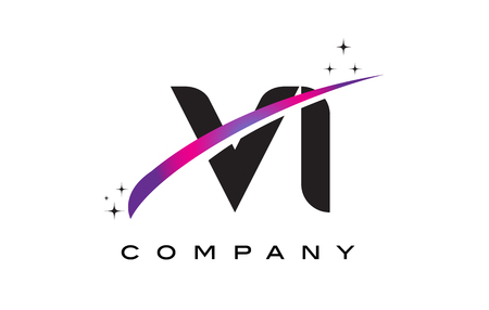 VI V I Black Letter Logo Design with Purple Magenta Swoosh and Stars.