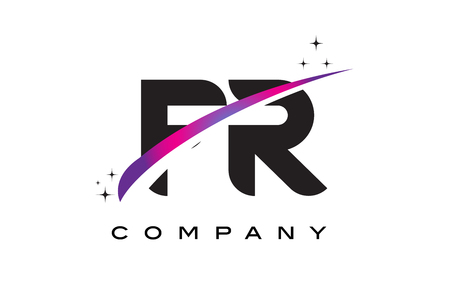 FR F R Black Letter Logo Design with Purple Magenta Swoosh and Stars.