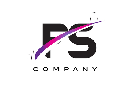 FS F S Black Letter Logo Design with Purple Magenta Swoosh and Stars.