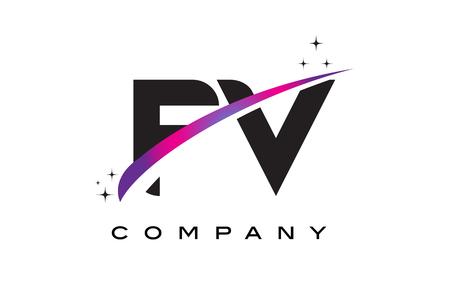fv: FV F V Black Letter Logo Design with Purple Magenta Swoosh and Stars.