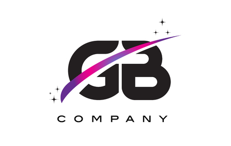 GB G B Black Letter Logo Design with Purple Magenta Swoosh and Stars.