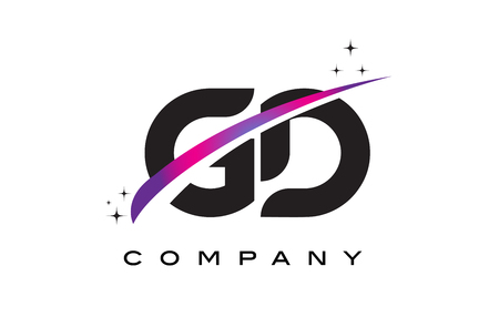 GD G D Black Letter Logo Design with Purple Magenta Swoosh and Stars.