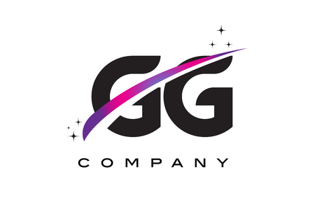 GG G G Black Letter Logo Design with Purple Magenta Swoosh and Stars.