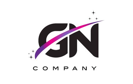 GN G N Black Letter Logo Design with Purple Magenta Swoosh and Stars.