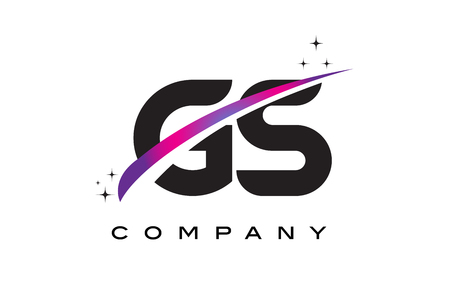 GS G S Black Letter Logo Design with Purple Magenta Swoosh and Stars.