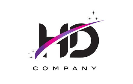 HD H D Black Letter Logo Design with Purple Magenta Swoosh and Stars.