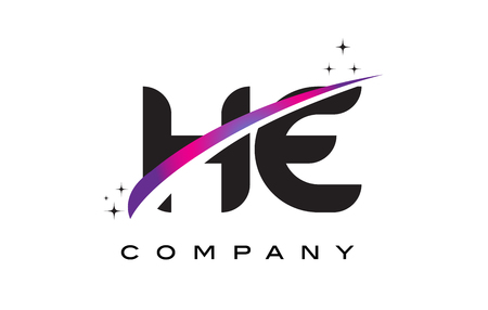 HE H E Black Letter Logo Design with Purple Magenta Swoosh and Stars.