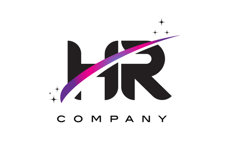HR H R Black Letter Logo Design with Purple Magenta Swoosh and Stars.