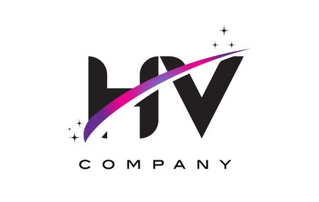 cutted: HV H V Black Letter Logo Design with Purple Magenta Swoosh and Stars.