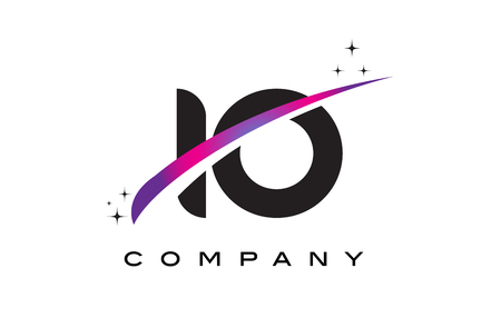 IO I O Black Letter Logo Design with Purple Magenta Swoosh and Stars.