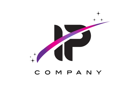 IP I P Black Letter Logo Design with Purple Magenta Swoosh and Stars.