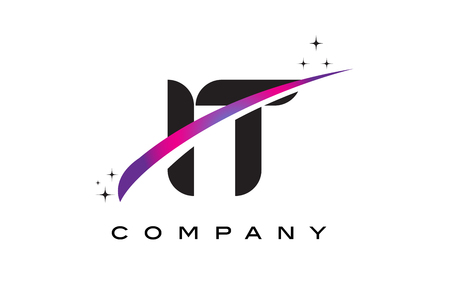 IT I T Black Letter Logo Design with Purple Magenta Swoosh and Stars.