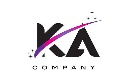 KA K A Black Letter Logo Design with Purple Magenta Swoosh and Stars. Illustration
