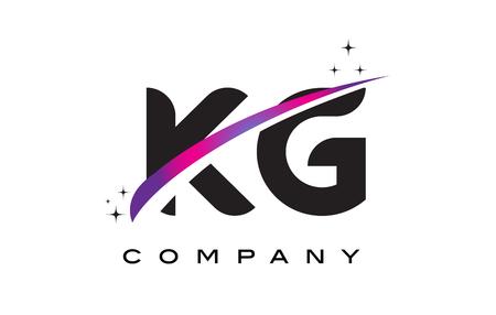 KG K G Black Letter Logo Design with Purple Magenta Swoosh and Stars.