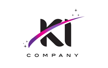 KI K I Black Letter Logo Design with Purple Magenta Swoosh and Stars. Illustration