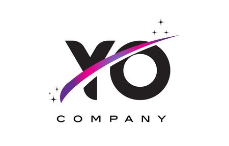 YO Y O Black Letter Logo Design with Purple Magenta Swoosh and Stars.