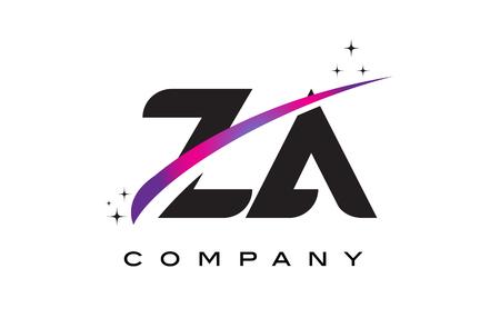 ZA Z A Black Letter Logo Design with Purple Magenta Swoosh and Stars.