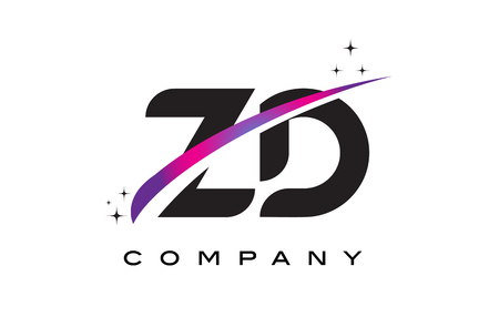cutted: ZD Z D Black Letter Logo Design with Purple Magenta Swoosh and Stars.