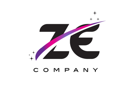 ZE Z E Black Letter Logo Design with Purple Magenta Swoosh and Stars.