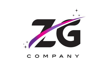 ZG Z G Black Letter Logo Design with Purple Magenta Swoosh and Stars.
