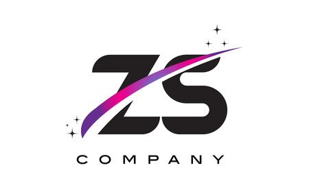 ZS Z S Black Letter Logo Design with Purple Magenta Swoosh and Stars.