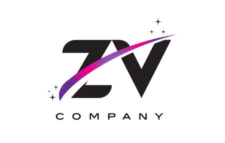 ZV Z V Black Letter Logo Design with Purple Magenta Swoosh and Stars.
