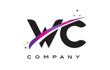 WC W C Black Letter Logo Design with Purple Magenta Swoosh and Stars.