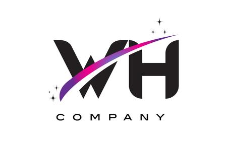 WH W H Black Letter Logo Design with Purple Magenta Swoosh and Stars. Illustration