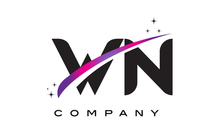 WN W N Black Letter Logo Design with Purple Magenta Swoosh and Stars. Ilustrace
