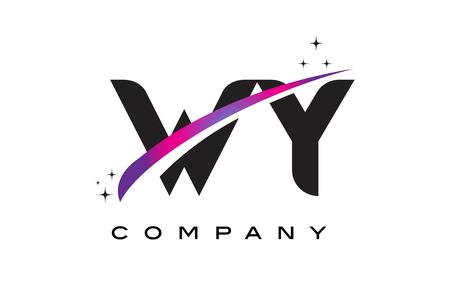 보라색 마젠타 스 워시와 별이있는 WY WY 검은 글자 로고 디자인. 스톡 콘텐츠 - 76693960