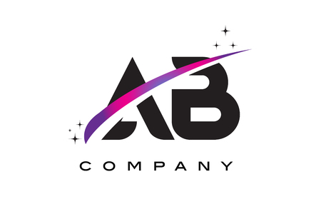 AB A B Black Letter Logo Design with Purple Magenta Swoosh and Stars.