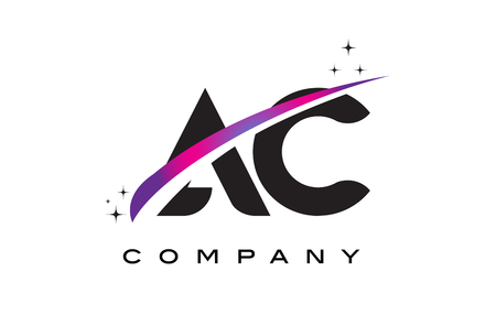 ac: AC A C Black Letter Logo Design with Purple Magenta Swoosh and Stars.