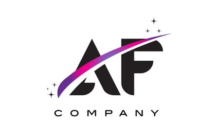 AF A F Black Letter Logo Design with Purple Magenta Swoosh and Stars.
